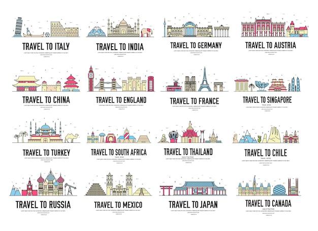 Atrações turísticas da ásia, europa, áfrica, américa do norte, design para viagens, projetos turísticos.