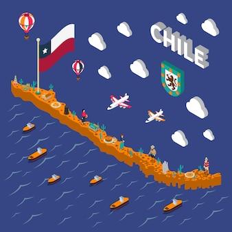 Atrações turísticas símbolos isométricos chile mapa