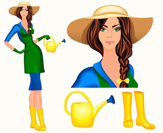 Atraente jovem jardineira de pé em chapéu de aba larga e wellingtons com rega ilustração vetorial