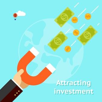 Atraindo o conceito de investimentos. ímã de dólar de sucesso empresarial dinheiro.