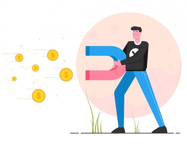 Atrair dinheiro com ilustração de ímãs