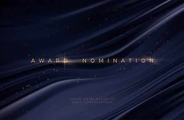 Atribuindo a cerimônia de nomeação fundo preto ondulado de luxo com brilhos de glitter dourados.