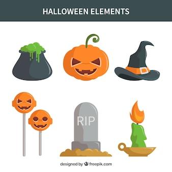 Atributos básicos do halloween em design plano