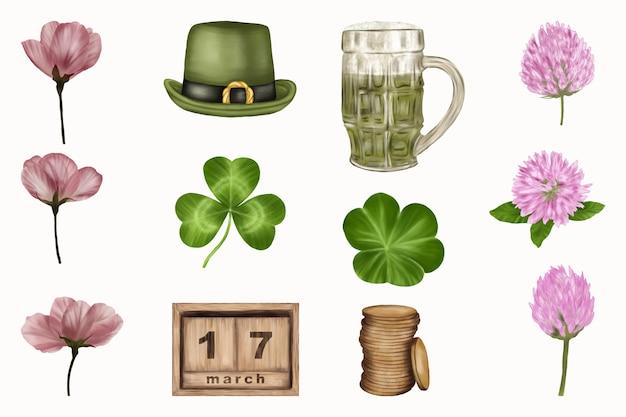 Atributos cerveja, moedas, flores do dia de são patrício