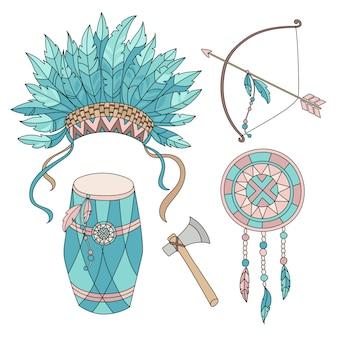 Atributos do herói nativo americano da vida indiana