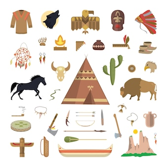 Atributos do nativo americano. ilustração em vetor de coisas indígenas.