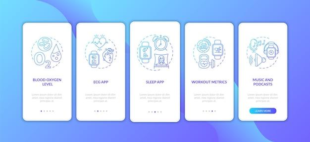 Atributos do smartwatch na tela da página do aplicativo móvel com conceitos