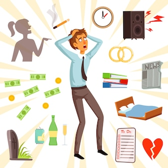 Atributos e símbolos de estresse e medo. infeliz caráter adulto, medo e estresse ilustração vector