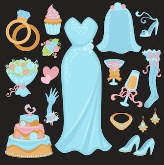 Atributos tradicionais de casamento em conjunto de cores azul claro