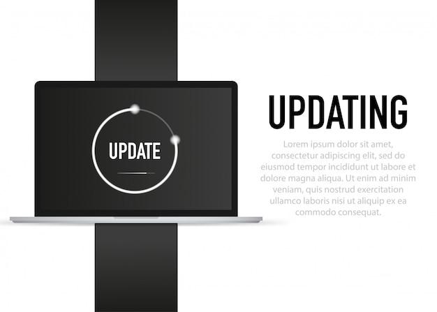 Atualização de dados ou sincronização com o processo de barra atualização no laptop
