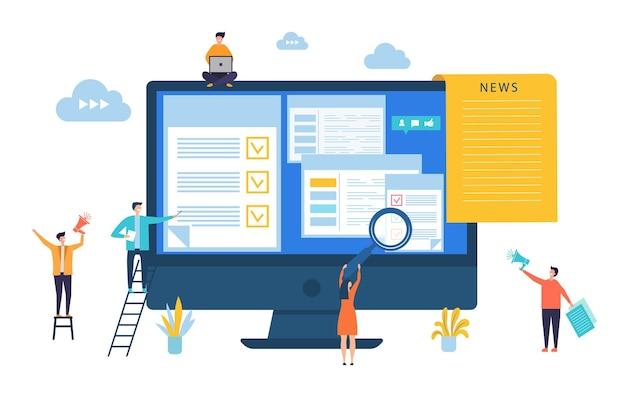 Atualização de noticias. notícias digitais, conceito de jornal online.