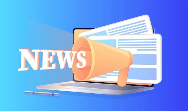 Atualização de notícias notícias on-line informações sobre anúncios de atividades de eventos notícias por e-mail Vetor Premium