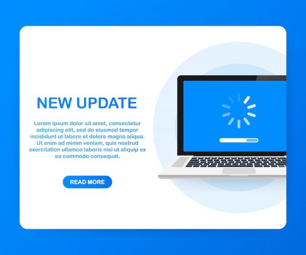 Atualização de software do sistema, atualização de dados ou sincronização com a barra de progresso na tela.