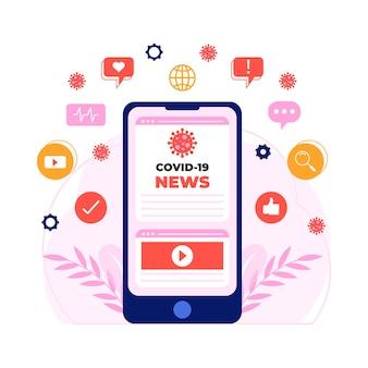 Atualização do coronavírus no smartphone ilustrada