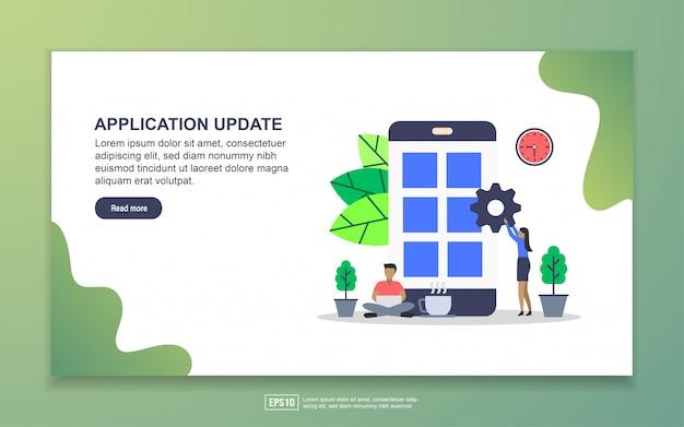 Atualização do sistema, aplicativo para dispositivos móveis e página de destino para desenvolvimento de aplicativos