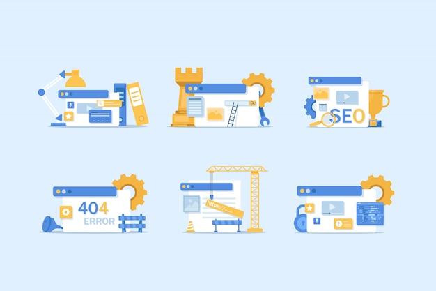 Atualização do sistema, web design e desenvolvimento. site em construção, otimização seo design plano moderno