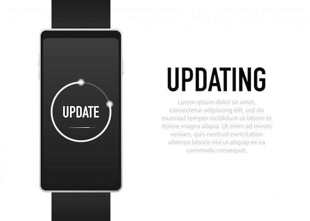 Atualização do software do sistema e conceito de atualização tela do processo de carregamento