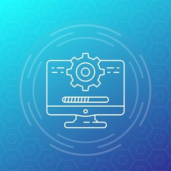 Atualização, ícone de linha de software, desenho vetorial