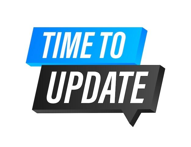Atualização ou atualização do software do sistema. nova atualização do banner. é hora de atualizar. ilustração vetorial.