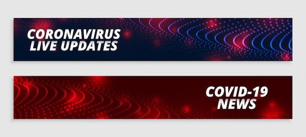 Atualizações ao vivo do coronavirus e conjunto de banners de notícias