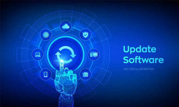 Atualizar o software. atualizar o conceito de versão do software na tela virtual. mão robótica tocando interface digital.