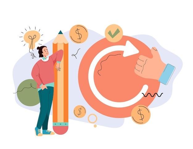 Atualizar, reiniciar projeto de negócios, novas ideias, objetivos estratégicos