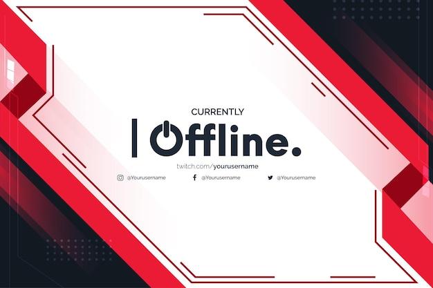 Atualmente offline twitch com modelo de design de formas abstratas vermelhas