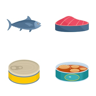 Atum pode conjunto de ícones de bife