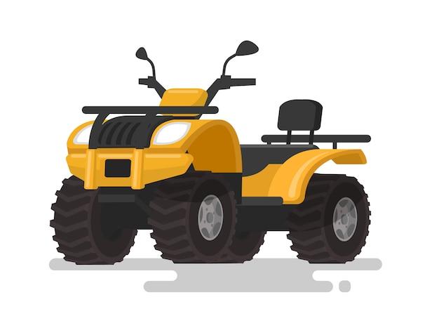 Atv amarelo. veículo todo-o-terreno de quatro rodas. quadriciclo no fundo isolado. ilustração