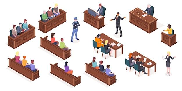 Audiência em tribunal e ícones isométricos isolados de sala de tribunal do juiz e do júri de justiça no julgamento