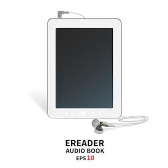 Audiobook com fones de ouvido.