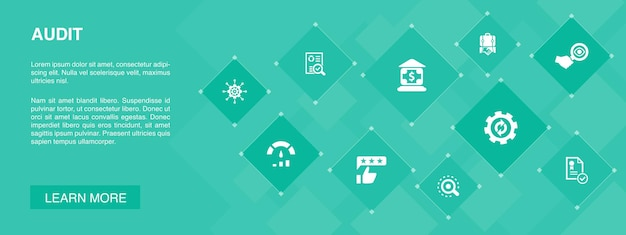 Auditar banner 10 icons concept.review, standard, examinar, processar ícones simples
