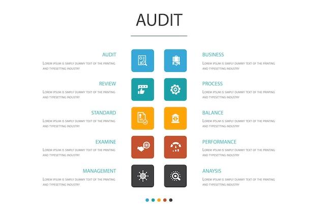 Auditar infográfico 10 opção concept.review, standard, examinar, processar ícones simples