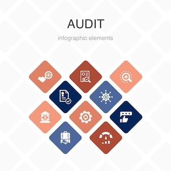 Auditar infográfico 10 opção cor design.review, padrão, examinar, processar ícones simples
