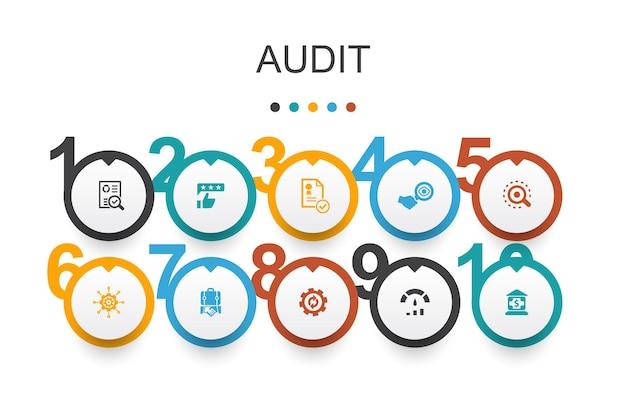 Auditar template.review de design infográfico, padrão, examinar, processar ícones simples
