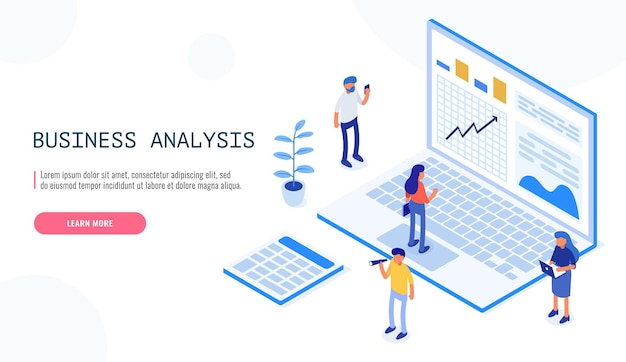 Auditoria, conceito de análise de negócios com personagens. conceito de oportunidades. documentação gráfica e de auditoria, análise econômica e orçamento financeiro. ilustração isométrica do vetor.