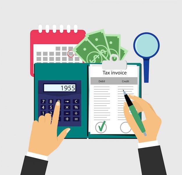 Auditoria, contabilidade. contando lucros. ilustração.