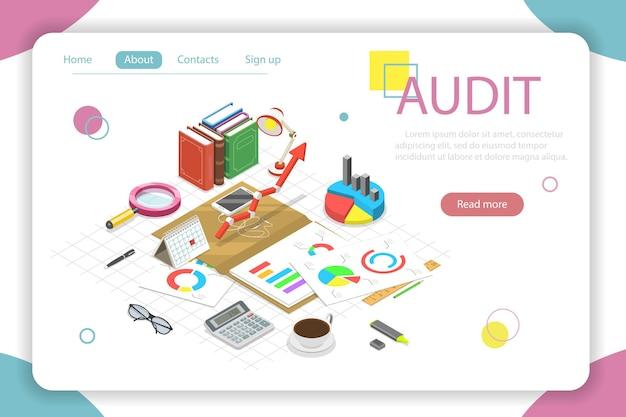 Auditoria de conceito de vetor isométrico plano, exame fiscal, relatório financeiro.