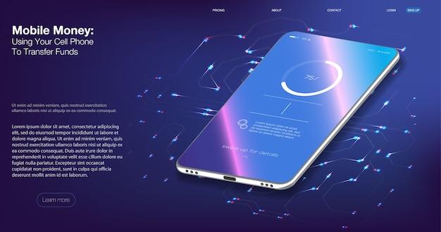 Auditoria digital. ilustração isométrica smartphone com cartão de crédito móvel