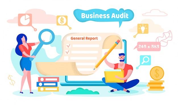 Auditoria empresarial, relatório geral, cartoon flat.