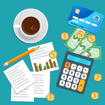Auditoria financeira, contabilidade, planejamento de negócios