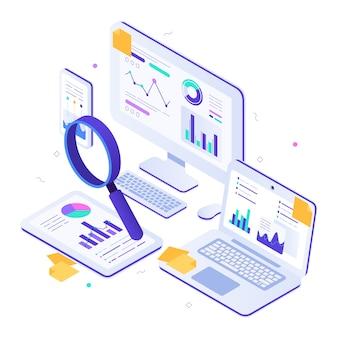 Auditoria financeira online. métricas isométricas do site, painéis de gráficos estatísticos e ilustração de pesquisa web seo