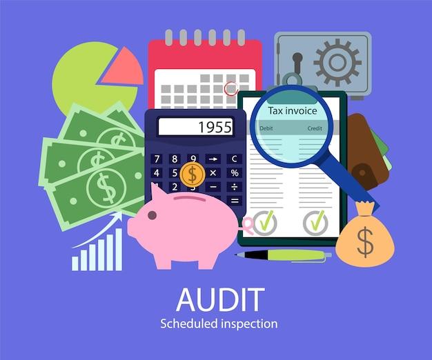 Auditoria fiscal em estilo simples. ilustração