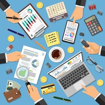 Auditoria no local de trabalho, processo tributário, contabilidade