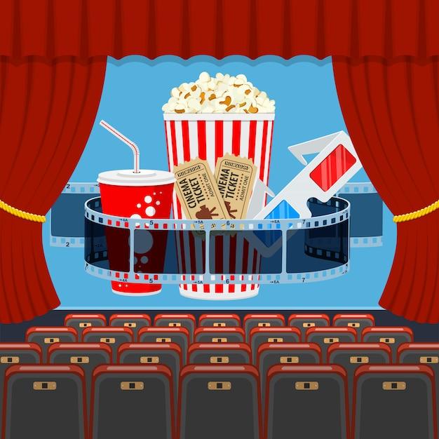 Auditório de cinema com bancos e pipoca