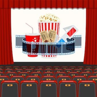 Auditório de cinema com poltronas e filme transparente, pipoca