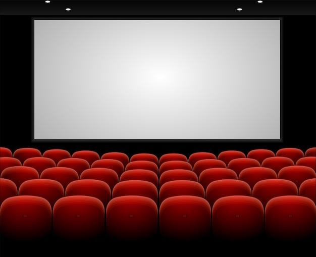 Auditório de cinema com poltronas vermelhas