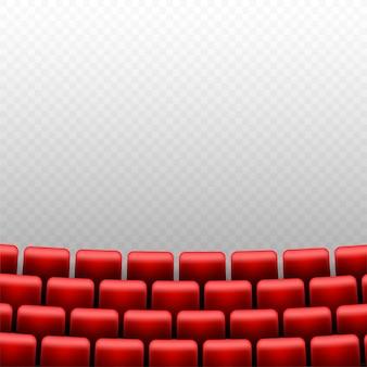 Auditório de cinema com tela e assentos vermelhos