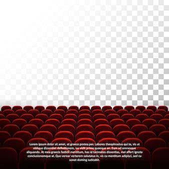 Auditório de cinema vazio com assentos vermelhos