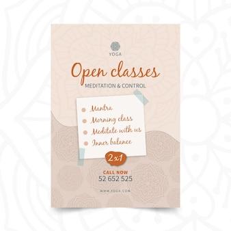 Aula aberta de pôster de ioga